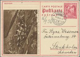 """Liechtenstein - Ganzsachen: 1936. Bild-Postkarte 20 Rp Karmin Mit Abb. Vs. Links """"Dorf Triesenberg"""". - Stamped Stationery"""