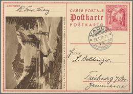 Liechtenstein - Ganzsachen: 1937, 20 Rp. Schloßhof, Bild Valünatal Im Schnee, Bedarfskarte Von Vaduz - Stamped Stationery