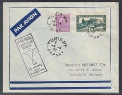 Tunisie, Enveloppe Premier Vol Tunis-Lyon-Geneve En 1937       -CP82 - Covers & Documents