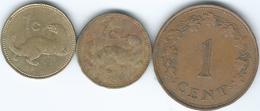 Malta - 1 Cent - 1972 - KM8; 1986 - KM78 & 2004 - KM93 - Malta