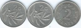 Malta - 2 Cents - 1972 - KM9; 1986 - KM79 & 2003 - KM94 - Malta