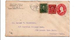 USA ETATS UNIS AFFRANCHISSEMENT COMPOSE SUR LETTRE DE EAST GREENWICH POUR LA TURQUIE 1909 - Etats-Unis