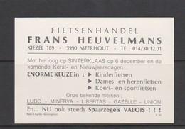 MEERHOUT-RECLAMEKAART-VALOIS-FIETSENHANDEL-FRANS HEUVELMANS-KIEZEL 189-FOTO CHARLES HENNEGHIEN-BRUSSEL-RARE-ZIE 2 SCANS! - Meerhout