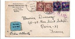 USA ETATS UNIS AFFRANCHISSEMENT COMPOSE SUR LETTRE DE SALINA  POUR LA FRANCE 1939 - Etats-Unis