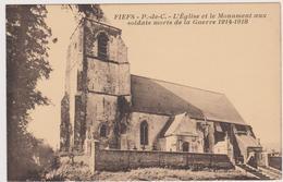 62  FIEFS - Eglise Monument Morts 1914-1918 - CPA  9x14 Sepia  TBE  Neuve Eglise Detruite En 1944 - France