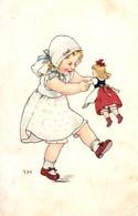 Marie Flatscher Girl Dancing With Her Doll - Altre Illustrazioni