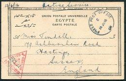 1916 GB Field Post Office GM, Ismalia B.E.F. Censor F.P.O. Luxor Postcard - Hastings - 1902-1951 (Könige)