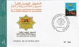 Maroc. Enveloppe Du 1er Salon National Du Timbre, De La Carte Postale Et De La Monnaie. Oujda 2017. Vignette Imprimée. - Philatelic Exhibitions