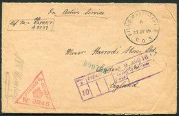 1916 Field Post Office CD3, Kantara HQ, Canal Defences, Censor O.A.S. Cover - Harrods London - 1902-1951 (Könige)