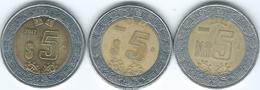 Mexico - 5 Pesos - 1994 (KM552) 1998 (KM605) & 2012 (KM605a) - Mexico