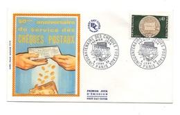Enveloppe Premier Jour D'émission 50e Anniversaire Du Service Des Chèques Postaux Paris 1968 - Timbrede 0.40 Francs - Post