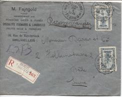 REF1030/ TP 164(2) S/L.Fajngold Négociant Judaisme Recommandée C.BXL 8/7/1920 > Suisse Bâle C.d'arrivée Basel 9/7/20 - Belgique