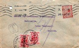 TX13A (2 Ex.) Griffe CHARLEROY Sur Lettre De Grande-Bretagne (timbre Perforé) - Postage Due