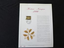 """BELG.1990 2392 : """" KERSTMIS-NIEUWJAAR """" NL.Luxe Kunstblad Geslagen In Fijn Goud 23 Karaat , 500 Exemplaren - FDC"""