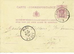 Entier Postal Lion Couché THOUROUT 1878 Vers LIEGE Signé Ep. HUYGHEBAERS - Postwaardestukken