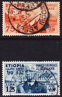 "Etiopia Italiana 1936 Mi 6-7, Sassone 6-7 Used O ""Addis Abeba"", Mi/Sa 6 With Short Dentation - Ethiopia"