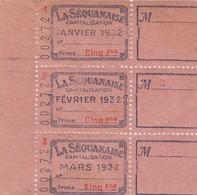 FRANCE - LOT DE 3 VIGNETTES LA SEQUANAISE CAPITALISATION JANVIER 1932 . / 6529 - Commemorative Labels