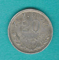 Mexico - 20 Centavos - 1900 - Zs Z - KM405.3 - Only 97,000 Minted At The Zacatecas Mint - Mexico