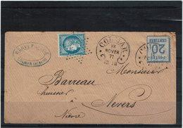 CTN61/A - ALSACE LORRAINE N° 6 OBL. FER A CHEVAL + CERES N° 60A OBL.ETOILE PARIS BLEUE SUR LE COLMAR 12/11/1871 - Marcophilie (Lettres)