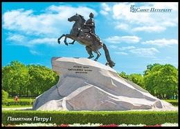 RUSSIA 2016 ENTIER POSTCARD 058/1 Mint PETERSBURG PETER-1 EMPEROR MONUMENT HORSE CHEVAL ARCHITECTURE - Monumentos