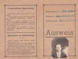 Ausweis, 80 Somme, Hallencourt, Abbeville. 29 Aout 1940. - Documents Historiques