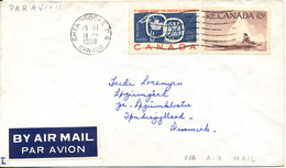 Canada Cover Sent Air Mail To Denmark Sherbrooke 23-11-1959 - 1952-.... Règne D'Elizabeth II