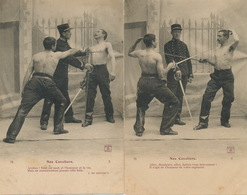 Escrime Fencing 2 Cartes Cavaliers Hommes Torse Nu  . Duel. J. Du Montrut - Escrime
