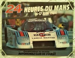 AFFICHE ANCIENNE ORIGINALE COURSE 24 HEURES DU MANS 1984 CHAMPIONNAT DU MONDE AUTOMOBILE CLUB DE L'OUEST LANCIA - Car Racing - F1