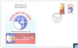 Sri Lanka Stamps 2014, Rotary, Polio Free, Special Commemorative Cover - Sri Lanka (Ceylon) (1948-...)