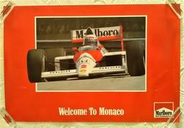 AFFICHE ANCIENNE ORIGINALE GRAND PRIX DE MONACO COURSE F1 1980's CHAMPIONNAT DU MONDE AUTOMOBILE TEAM MALBORO - Automovilismo - F1