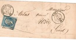 Gard - Bagnols Sur Cèze - Petit Chiffre 231 - Cachet 15 Bagnols Du 22 Août 1860 - Cachet 15 Arrivée Uzés Du 23 Août - 1849-1876: Klassieke Periode