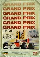 AFFICHE ANCIENNE ORIGINALE GRAND PRIX AUTOMOBILE DE PAU COURSE F1 1985 ILLUSTRATION TRINCO TEAM MALBORO - Car Racing - F1