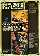 AFFICHE ANCIENNE ORIGINALE GRAND PRIX AUTOMOBILE DE FRANCE CHAMPIONNAT DU MONDE F1 COURSE CIRCUIT PAUL RICARD 1988 - Automovilismo - F1