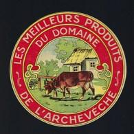"""Ancienne étiquette Fromage  Les Meilleurs Produits Du Domaine De L'archevêché  """" Ferme, Vache Gros Plan""""  Excellent état - Fromage"""