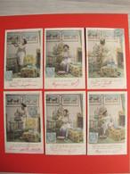 Série Complète 6 CPA - La Passion De Colinette - Femme En Tenue Légère Et Ses Oiseaux - 1904 - Recto Verso - Donne
