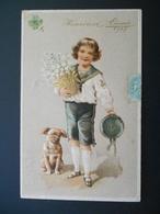 Petit Garçon élégant Portant Pot De Fleurs Blanches Avec Un Petit Chien - Dorure - Gaufrée - Série 6199 - Children