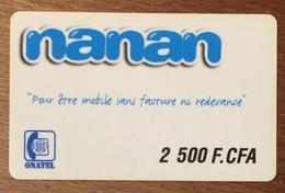 BURKINA FASO NANAN ONATEL 2.500 FCFA GSM PRÉPAYÉE PHONE CARD PAS TELECARTE - Burkina Faso