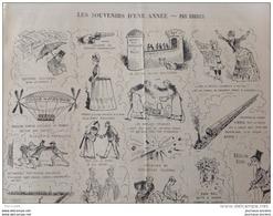 """1885 SOUVENIRS D'UNE ANNÉE Dessin De DRANER Paru Dans Le Journal LE CHARIVARI - PUB CHAMPAGNE """"ORIGINAL"""" Paul DURIEUX - Newspapers"""
