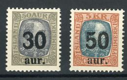 Ijsland / Iceland / Island Facit 101 & 102 MH - SE 850 - 1918-1944 Autonoom Bestuur