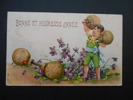 Petit Garçon Soulevant Des Sacs De Pièces, Violettes - Gaufrée - Série 258 - Autres