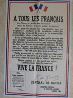 Affiche Reproduction Guerre 1939 1945 Ww2 Général De Gaulle Perdu Bataille Vive La France  Quartier London - 1939-45
