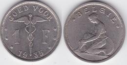 LOT10  LEOPOLD III  1 FRANC NICKEL PUR  TYPE BONNETAIN  1935 Flamande - 1934-1945: Leopold III.