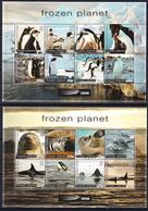 2011 British Antarctic Territory Frozen Planet Penguins Whales Seals Complete Set Of 2 Sheets MNH - Territoire Antarctique Britannique  (BAT)