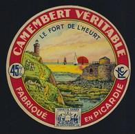 """Ancienne étiquette Fromage Camembert Véritable Le Fort De L'Heurt 45%mg Laiterie Coop De Verton """" LCV"""" 62 Pas De Calais - Cheese"""