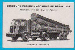 CPSM REIMS ( RARE ) Concours Régional Agricole 1937 Admin. Des Eaux & Forêts - Camion à Gazogène - Ecrite - 2 Scans - Reims