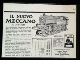 Publicité MECCANO - Train En Jeux De Construction - Coupure De Presse Italienne (illustration) De 1928 - Meccano