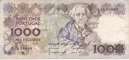 BILLETE DE PORTUGAL DE 1000 ESCUDOS  DEL AÑO 1988 SERIE BJR (BANKNOTE-BANK NOTE) - Portugal