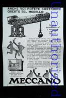 Publicité MECCANO - GRUE PORTIQUE En Jeux De Construction - Coupure De Presse Italienne (illustration) De 1929 - Meccano