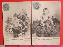 Lot 2 CPA - La Graine De Chou (garçon) Et La Graine De Rose (fille) - Bébés Tout Nus - 1904 - Recto Verso - Neonati