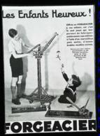 Publicité FORCEACIER  - GRANDE GRUE  En Jeux De Construction - Coupure De Presse  (encadré Photo) De 1934 - Other Collections